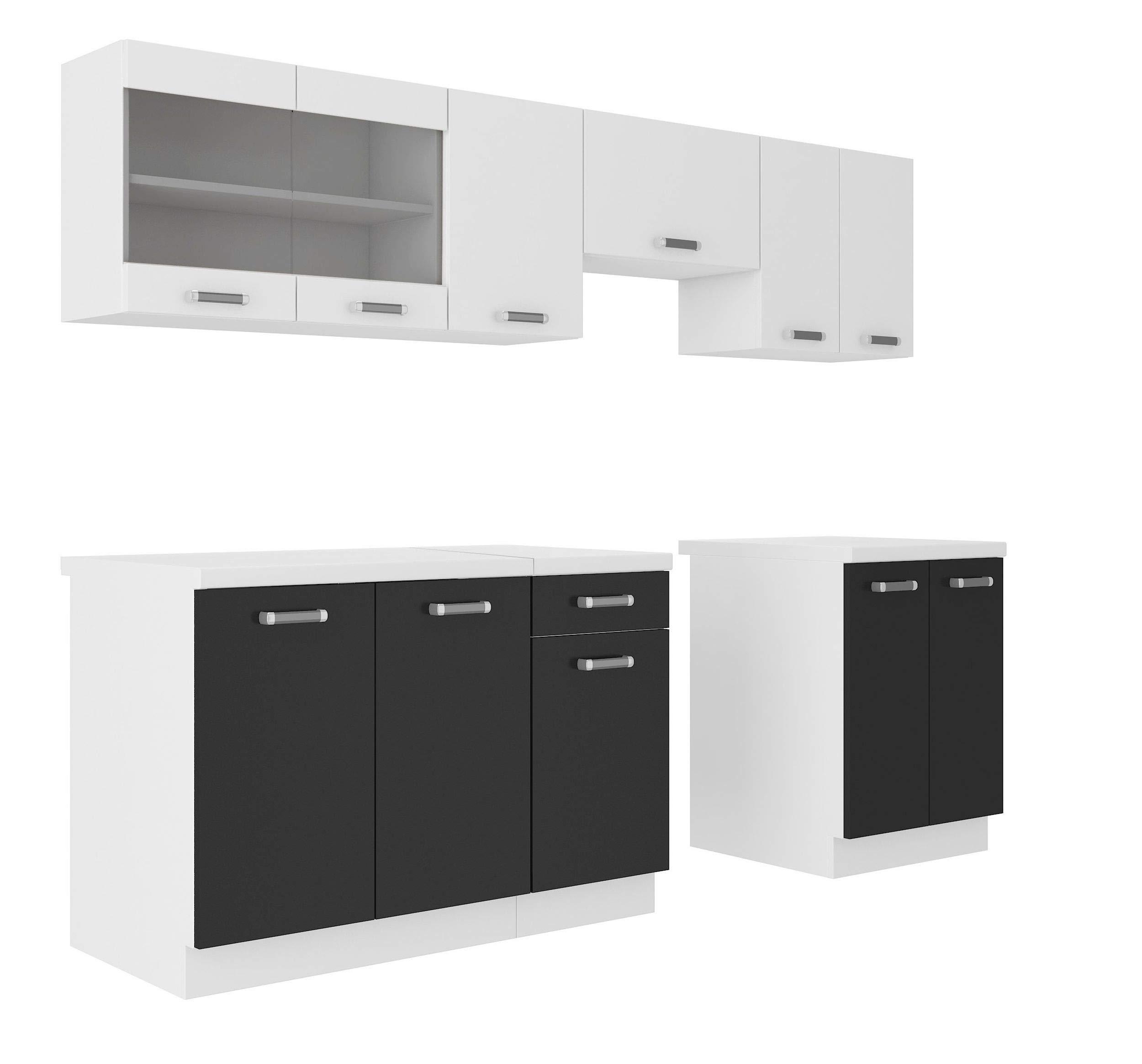 Küche Omega 15 cm Küchenzeile Küchenblock variabel stellbar in Schwarz  Weiss