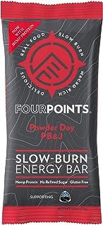 Fourpoints Energy Bars, Powder Day PB&J, Plant Based Hemp Protein, (2.5oz bar, Box of 12), Vegan, Paleo, Gluten Free