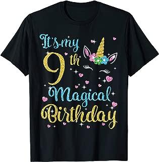 Retro Unicorn Face It's My 9th Magical Birthday Happy Shirt