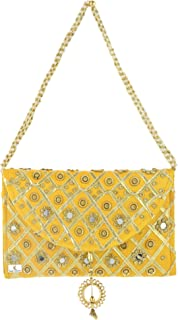 Kuber Industries Silk Traditional Mirror Work Envelope Clutch/Hand Purse Bag for Women/Girls (Gold)-KUBMART11451