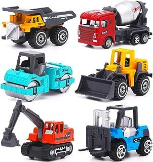YIMORE Vehicules de Chantier 6 pcs Jouet Camion Voiture Véhicule de Construction Noël Anniversaire Cadeau pour Enfant Garc...