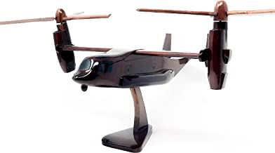V-22 Osprey Replica Helicopter Model Hand Crafted with Real Mahogany Wood