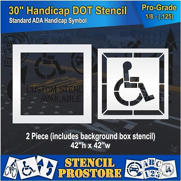 Pavement Stencils 30 Inch Handicap ADA Stencil With Border Background 2 Piece 42 X 42 X 1 8 128 Mil Pro Grade