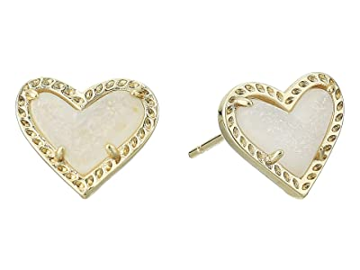 Kendra Scott Ari Heart Stud Earrings (Gold Iridescent Drusy) Earring