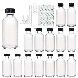 Glass Bottles 2oz, Maredash Clear Small Glass Storage Bottles with Black Lids (15 Pcs)