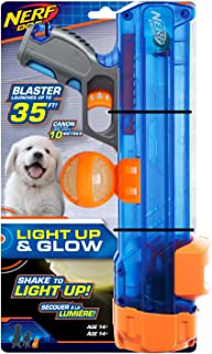 Nerf Dog Small Size Tennis Ball Blaster with LED Ball, Great for Fetch, Hands-Free Reload, Launches up to 50 ft, Single Un...
