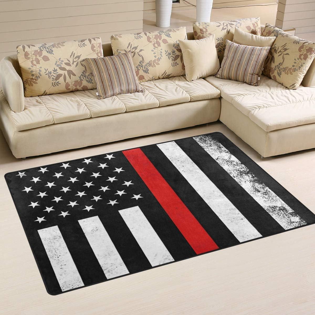 Ainans Firefighter Red USA Flag Area Floor Atlanta Mall Rapid rise Non-Slip M Rug Carpet