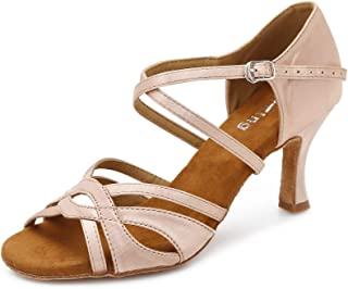 YYTing Women Ballroom Dance Shoes Latin Salsa Bachata Performance Dancing Shoes