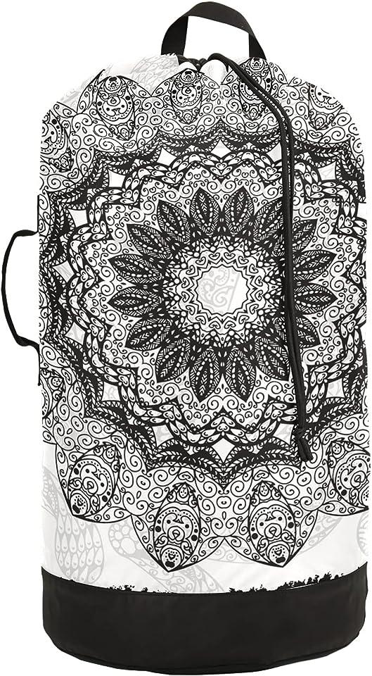 Backpack Laundry Bag, Round Mandala Grey Laundry Backpack Clothes Hamper Bag with Drawstring Closure for College, Travel, Laundromat, Apartment(6ya2k)