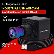 Usb Camera HD 1.3MP Low Illumination Webcam CMOS AR0130 Mini USB with Camera,USB 2.0 UVC for Free Driver Web Cams,Indoor Outdoor Home Nanny Cameras with 4mm Manual Focus Lens for Android Windows Linux