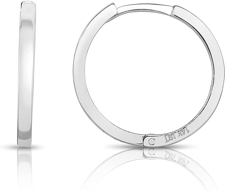 MCS Jewelry 14 Karat Solid depot White Gold Huggie Endless Earrin Ranking TOP10 Hoop