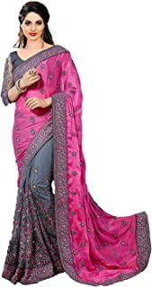 PYXBE Women's Satin and Net Saree With Unstitched Blouse Piece (MSPink.PXB-2020_Pink)