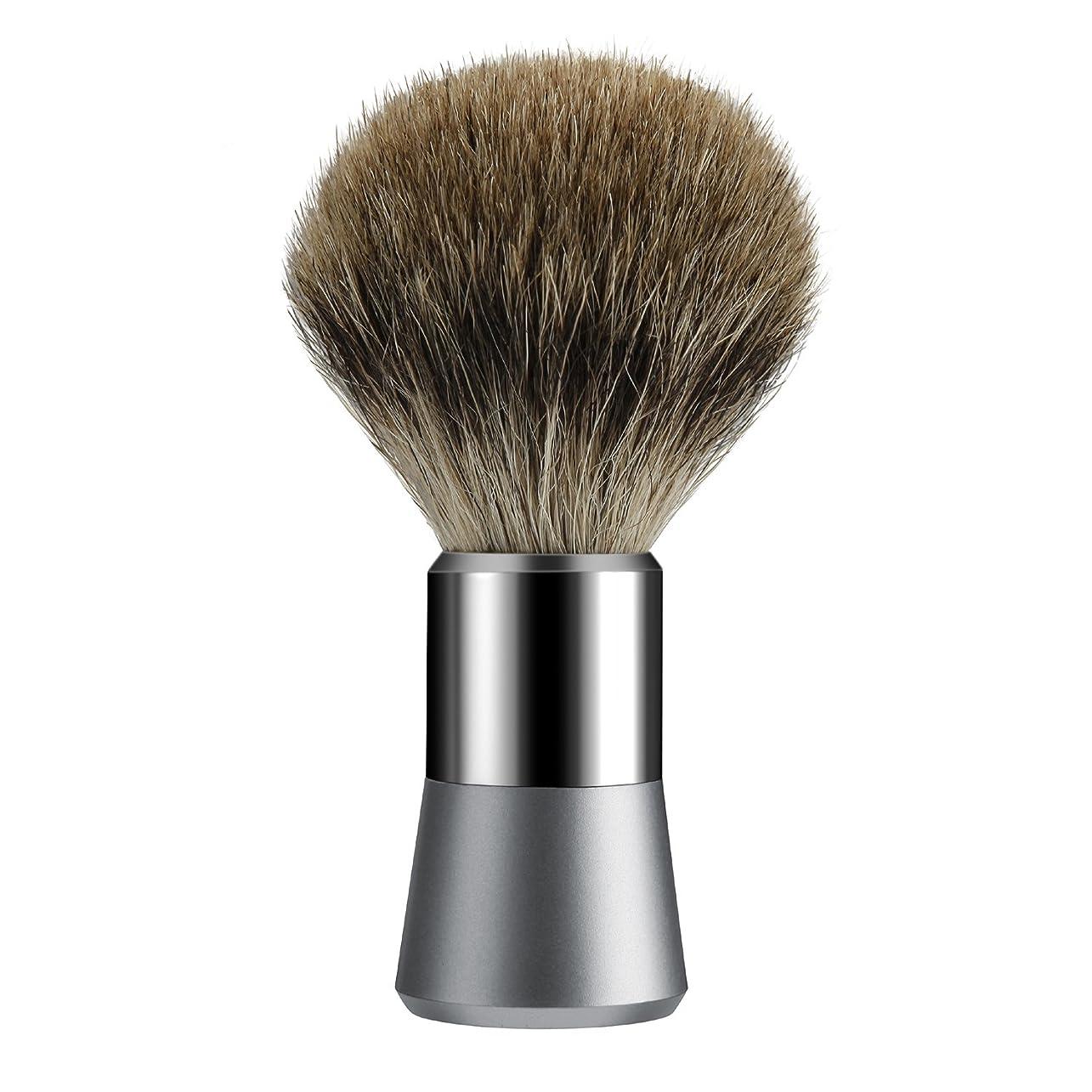 ベール定規成功Tezam シェービング ブラシ, シェービングブラシ アナグマの毛 100%, クロームハンドル