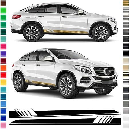 Auto Dress Seiten Streifen Aufkleber Set Dekor Passend Für Mercedes Gle In Wunschfarbe Gold Auto