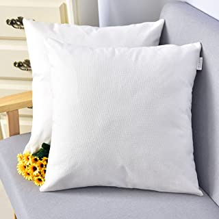 NATUS WEAVER Outlet Decorative 18 X 18 Inch Faux Linen Cloth Pillow Cover Cushion Case for Bench,White, 2 Pieces