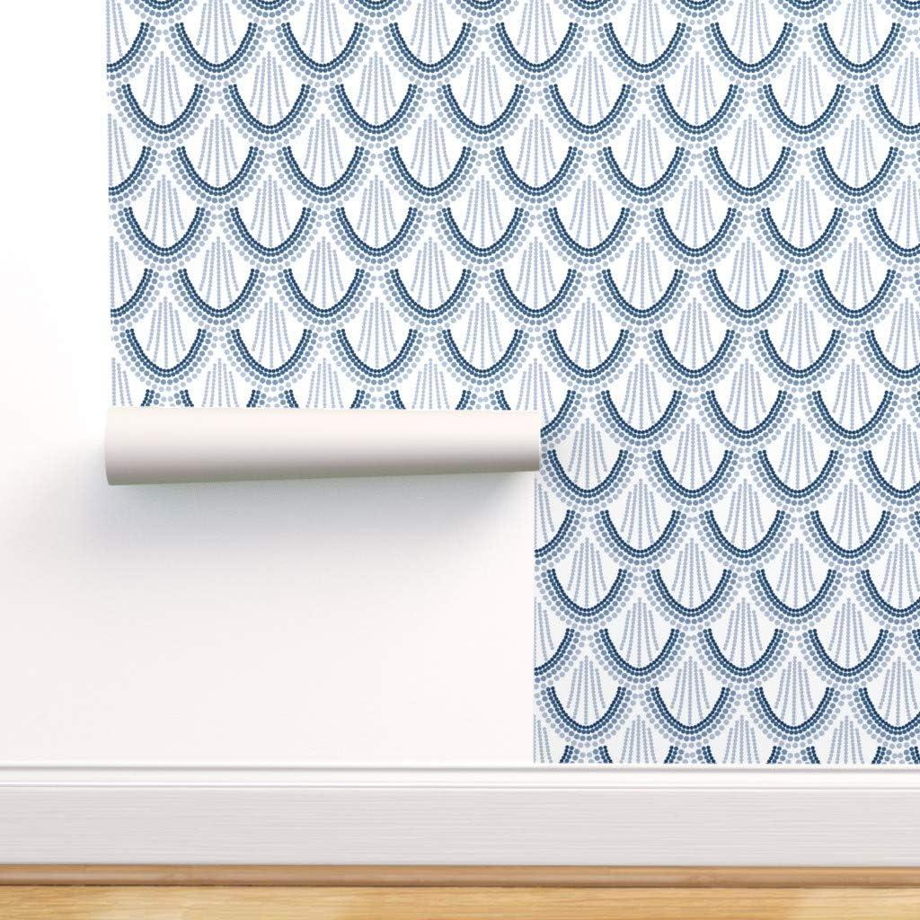 贈物 Spoonflower Peel and Stick Removable Wallpaper Sc 特価キャンペーン Art Navy Deco