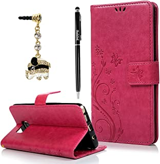 Note 5 Case,Galaxy Note 5 Case - Fashion Wallet Purse 3D Embossed Butterflies Premuim PU Leather Flip Cover Ultra Slim TPU Inner Bumper Hand Strap Magnetic Card Slots Dust Plug by Badalink - Hot Pink