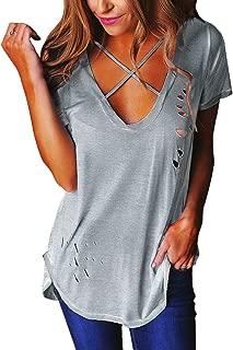 Relipop Women's Fashion Cross Front Deep V Neck Sexy Blouse Tops Shirts