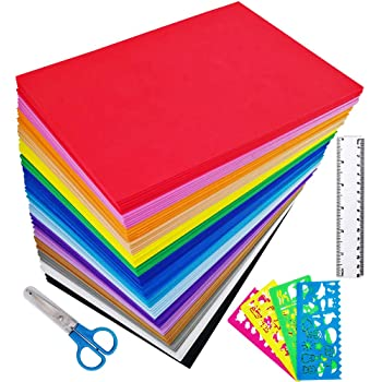 """Supla 96 Sheets 16 Colors EVA Foam Handicraft Sheets 2mm Thick Craft Foam Sheets 9"""" x 6"""" Assorted Colorful Crafting Sponge with Stencils Ruler Scissor for Classroom Party Kids Art & Crafts Projects"""