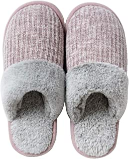 Men's Indoor Slippers, Lover Shoes, Knitted Cotton Slippers Cozy Memory Foam Anti-Slip Rubber Sole Slippers,Pink,S