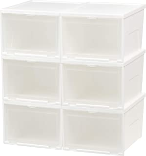 IRIS USA NSSB-H Front Entry Stacking Shoe Box, Tall, White, 6 Pack