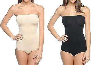 Body Beautiful Seamless Strapless Bodysuit Shaper in Shiny Yarn