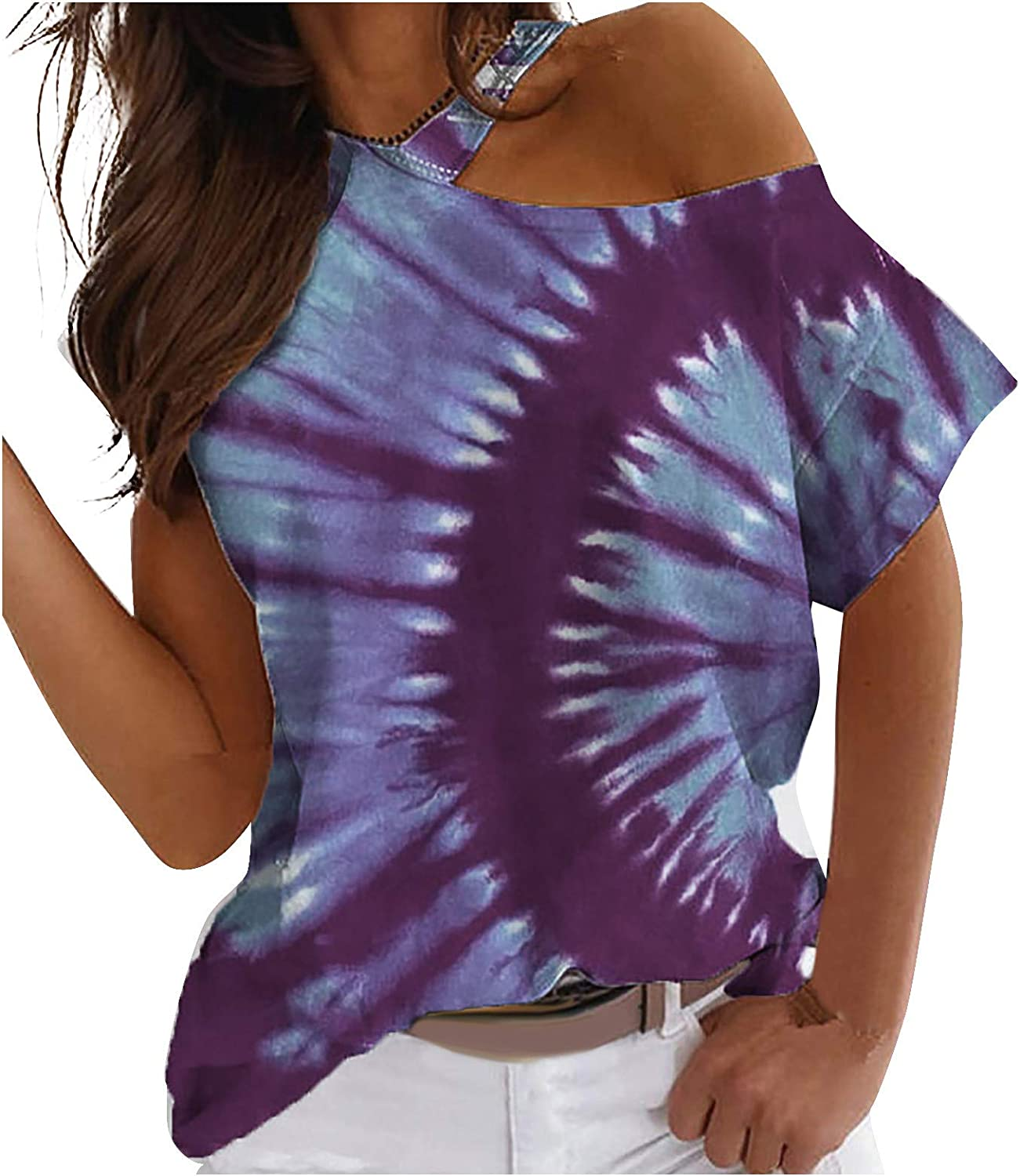 Women's Tie Dye Tshirts Off Shoulder Tops Short Sleeve Hippie Clothes Stylish Shirts for Women