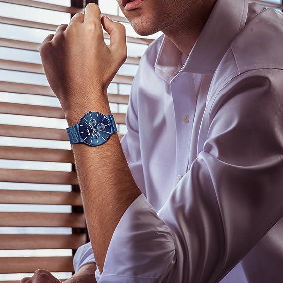 Relojes para Hombres Reloj de Malla Impermeable Azul Hombre Relojes de Acero Inoxidable Diseñador Simple de Lujo Día Fecha Calendario Clásico de ...
