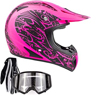 Typhoon Adult Women's Dirt Bike ATV Helmet Motocross Goggles and Gloves Combo..