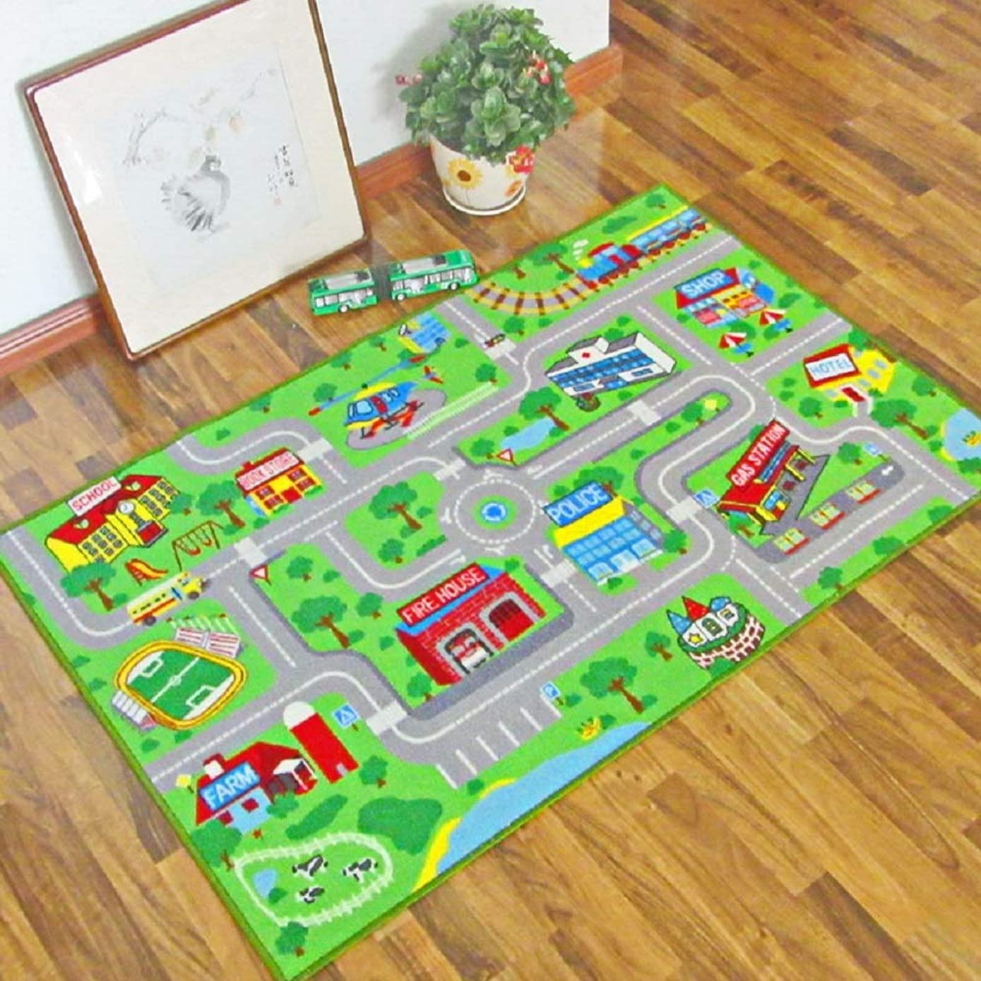HEBE Kids Rug Playmat Carpet City Life Extra Large 3.3' x 5.3' Educational Learning Road Traffic System Kids Area Rugs for Bedroom Living Room Playroom, Play with Cars and Toys,Machine Washable