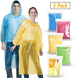 Rain Ponchos for Adults(5 Pack) | Disposable Emergency Drawstring Hood Poncho in Bulk | Extra Thick, Waterproof 0.035mm PE Plastic Material for Disney, Travel, Concerts, Camping