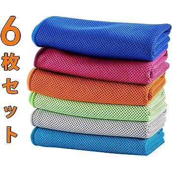 速乾タオル スポーツタオル(6枚セット) クールタオル 冷感タオル 冷却タオル 軽量 超吸水 熱中症対策 新型竹繊維 UVカット VOAOV