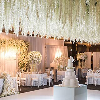 XYXCMOR 32.8Ft Artificial Silk Wisteria Vine Rattan Garland Fake Hanging Flower for Wedding Living Room Home Wall Garden Festivals Decoration White 10 pcs