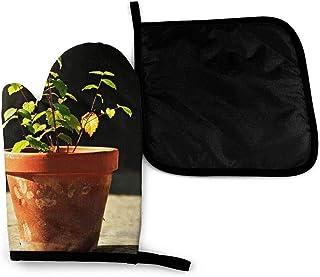 1 Guante para Horno Resistente al Calor y Tapa para Olla, Material Aislante de poliéster Duradero, Antideslizante, Resistente al Agua, Seguro para Hornear Barbacoa(Flower Pot Plant Ceramic)
