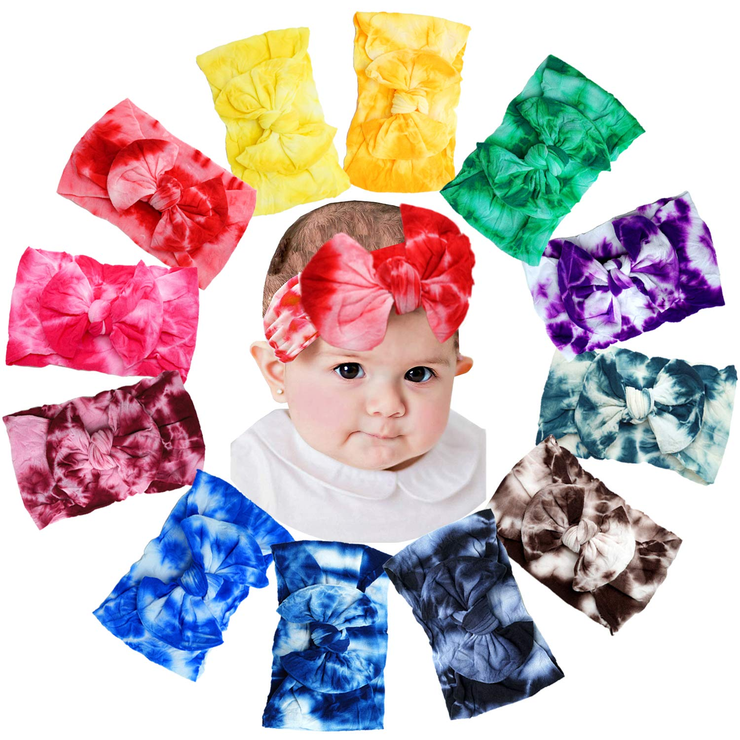 12 Pack Very popular Baby Girls Headbands 4.5Inch Dye Bows Super sale period limited Tie Hair
