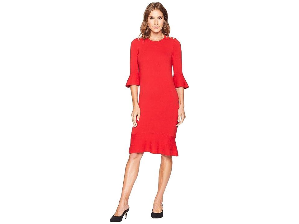 LAUREN Ralph Lauren Ruffled Cotton-Blend Dress (Crimson) Women