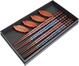 Cabilock 1 Set Chopsticks Set Chopstick Holder Rest Set Wooden Chopsticks Reusable Chopsticks Holder Gift Set