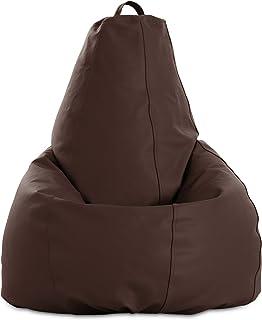 textil-home Puf - Pera moldeable XL Puff - 80x80x130 cm- Color Chocolate. Tejido Polipiel Alta Resistencia - Doble repunte...