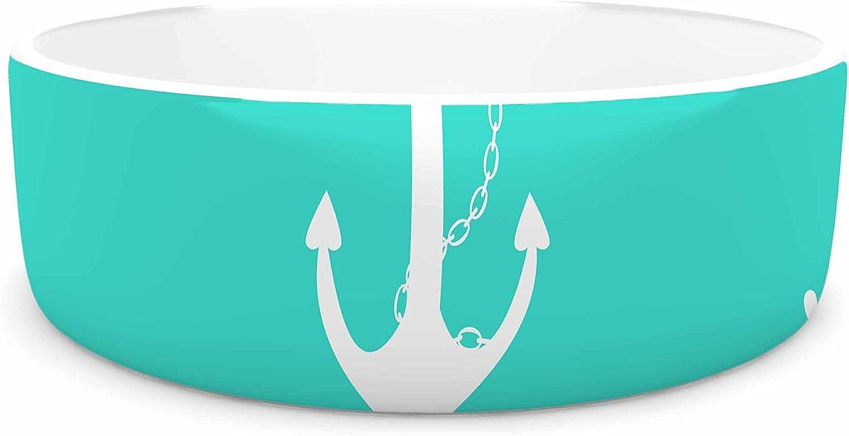 KESS InHouse afe Images Anchor and Helm Wheel Teal White Illustration Pet Bowl, 7  Diameter