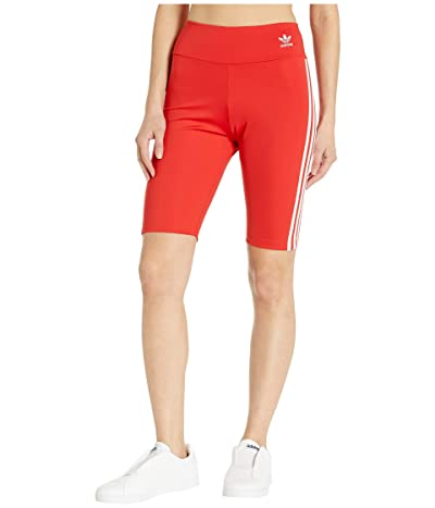 adidas Originals adiColor Biker Shorts (Lush Red/White) Women