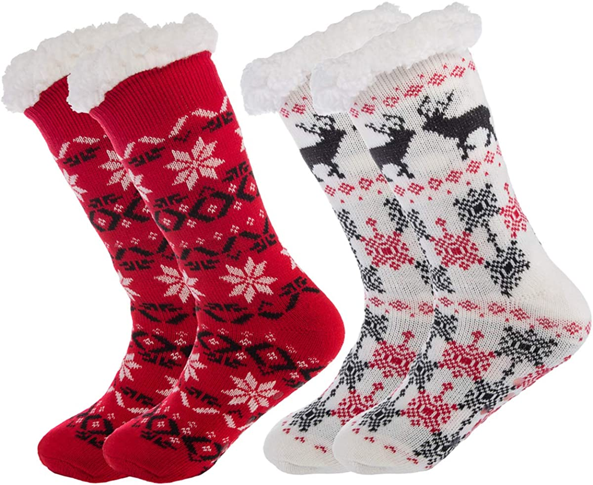 DG Hill Treehouse Knit (2 Pack) Womens Thick Knit Sherpa Fleece Lined Thermal Fuzzy Slipper Socks with Grippers