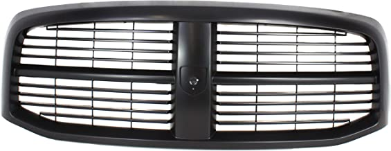 Grille Assembly Compatible with 2006-2008 Dodge Ram 1500 Horizontal Bar Insert Plastic Painted Black Shell and Insert