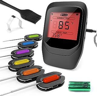 Gifort Digitales Fleischthermometer, Grillthermometer BBQ Thermometermit 6 Sonden, Funk..