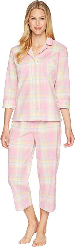 LAUREN Ralph Lauren 3/4 Sleeve Notch Collar Capris Pajama Set