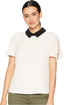 Short Sleeve Collared Blouse with Shoulder Ties