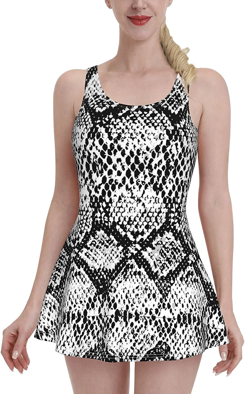 Snake Skin Print Black and White Fashion Swimdress Swimsuits for Women Tummy Contro