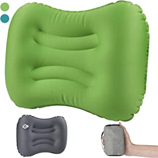 JuneLady キャンプ枕 エアーピロー エアー枕 空気枕 携帯 旅行用枕 トラベルピロー 旅行用枕 飛行機 出張 収納可