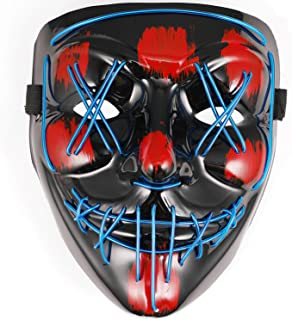 Halloween Mask, Led Scary Mask Halloween Decoration Light Up Party Cosplay Costume for Adults with a Spider Hair Clip Blue