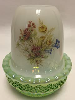 Glimmer Light Candle Fairy Lamp - Milk Glass w/Floral (Green Opalescent Carnival)