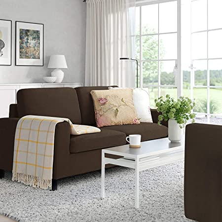 LEMBERI 51'' Small Loveseat Sofa Couch for Living Room, Small Modern Couch with Linen Fabric, Love Seats 2-seat Sofa Couch Space Saving for Small Space,Upstairs loft,Small Apartment,Dorm (Brown)